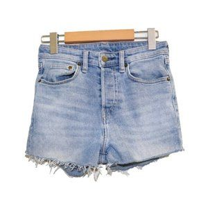 H&M Light Wash High Rise Button Fly Jean Shorts